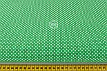 """Ткань хлопковая """"Пунктирный горошек"""" белый на зелёном (№2133), фото 2"""