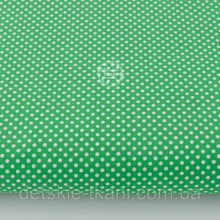 """Ткань хлопковая """"Пунктирный горошек"""" белый на зелёном (№2133)"""
