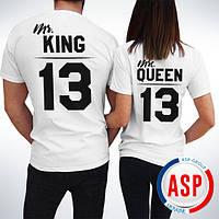 Футболки  парные белые king queen король и королева  с номерами надписями логотипами на заказ