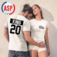 Футболки парные белые печать черная  king queen король королева с номерами надписями логотипами на заказ