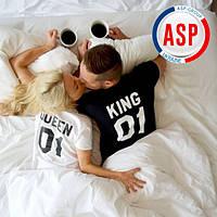 Футболки  парные king queen король и королева  с номерами надписями логотипами на заказ