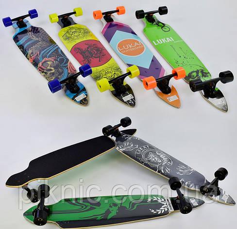 Лонгборд Lukai для подростков и взрослых, дека 104 см, колёса PU 7 см, подшипники ABEC-9, Скейтборд, скейт , фото 2