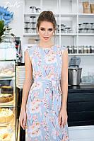 Длинное летнее Платье  с боковыми карманами, Без рукавов  Размеры  42-44, 46-48  Цвет- серый,  голубой