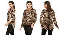 Блузка женская лето 294 (44 46 48) (цвет коричневый леопард) СП