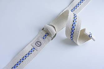 Ремень-полукольца бело-синий Foyo Ethno belt W