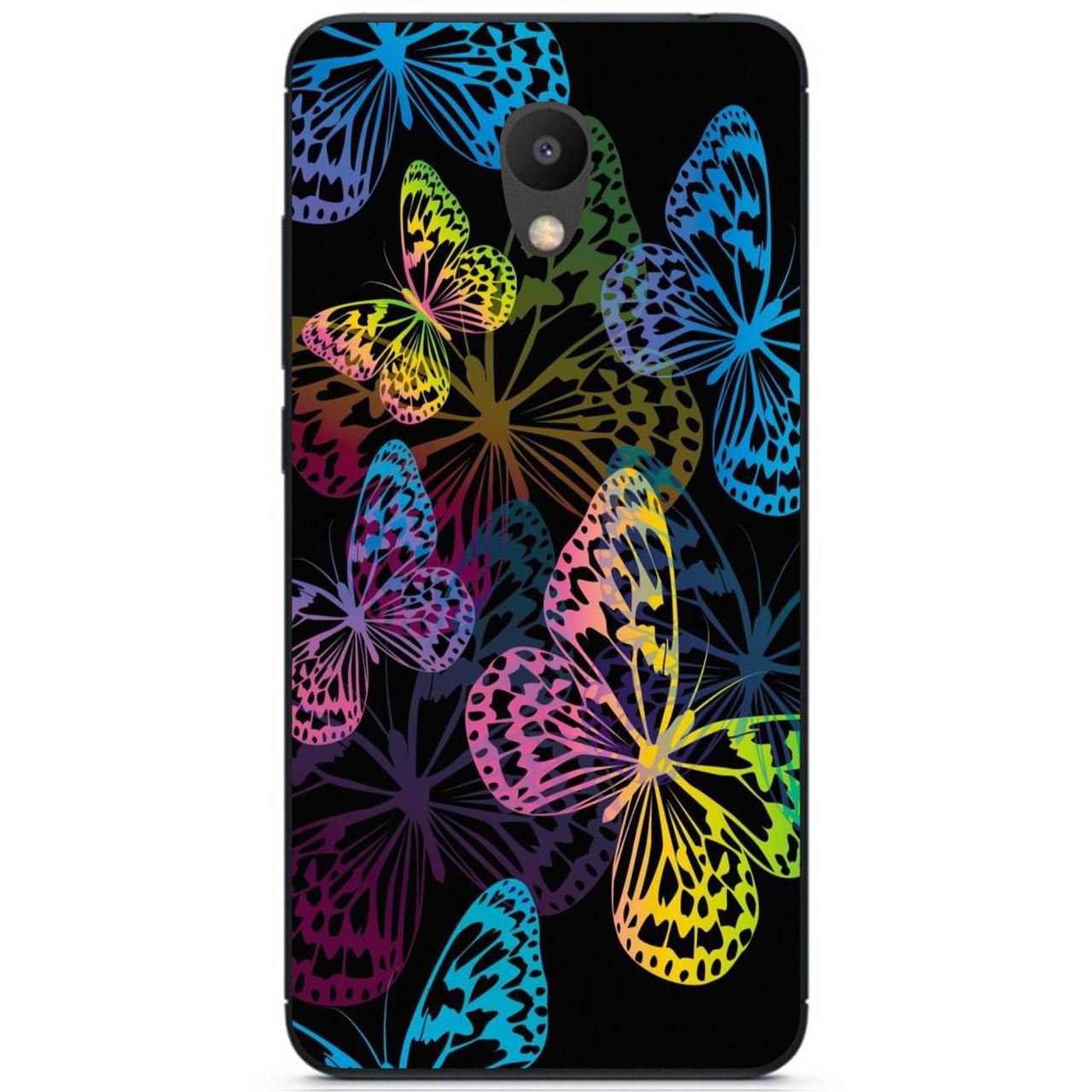 Силиконовый бампер чехол для Meizu M6 с рисунком Неоновые бабочки