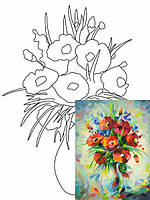 Холст на картоне с контуром, Натюрморт № 20, 30x40, хл., акрил.гр., Этюд