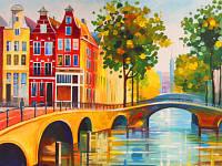 Холст на картоне с контуром, Города Амстердам, 30x40, хлопок, акриловый грунт, Этюд