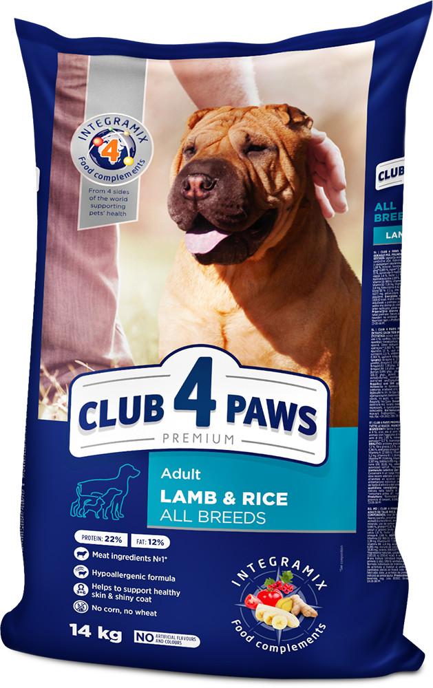 Корм для собак всех пород с ягненком Клуб 4 Лапы Premium Adult All Breeds Lamb