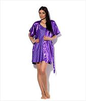 Комплект: ночная сорочка на бретелях и халатик - кимоно, цвет: фиолетовый. Размеры 44 - 52. Опт и розница