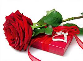 """Пакет для подарка гигант горизонтальный """"Роза с подарком"""" 46 х 33 см  (6 шт/уп)"""