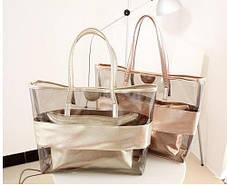 Вместительная сумка с силиконовой вставкой и клатчем, фото 3
