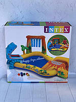 Бассейн надувной игровой центр Intex «Динозавры» с горкой для спуска фонтаном и шариками артикул 57444