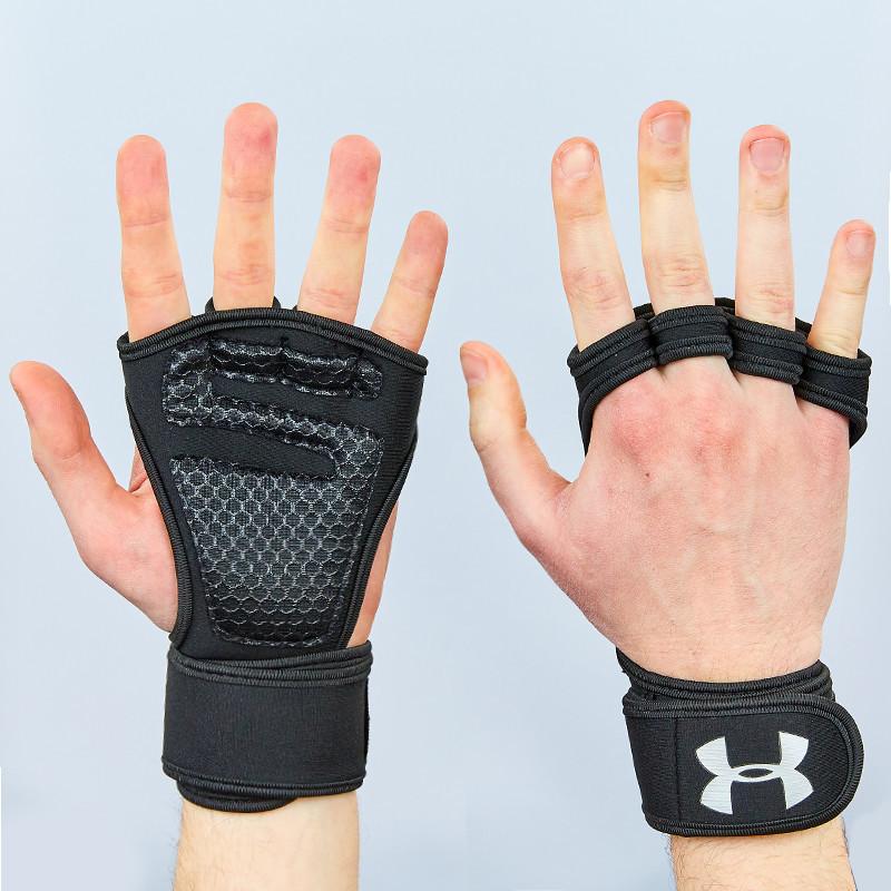 Рукавички (накладки) для підняття ваги UNDER ARMOUR ВС-9992-BK (PVC, PL, еластан,відкриті пальці)