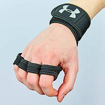 Рукавички (накладки) для підняття ваги UNDER ARMOUR ВС-9992-BK (PVC, PL, еластан,відкриті пальці), фото 3
