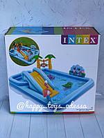 Бассейн надувной игровой центр Intex «Приключения джунглей» с горкой надувные пальмы фламинго артикул 57161
