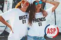 Футболки парные для друзей подруг с номерами фамилиями именами надписями на заказ