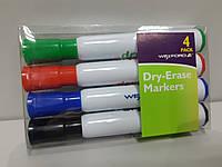 Маркер для сухостираемых досок Набор 4 шт Dry Erase 3 мм Черный Синий Красный Зеленый