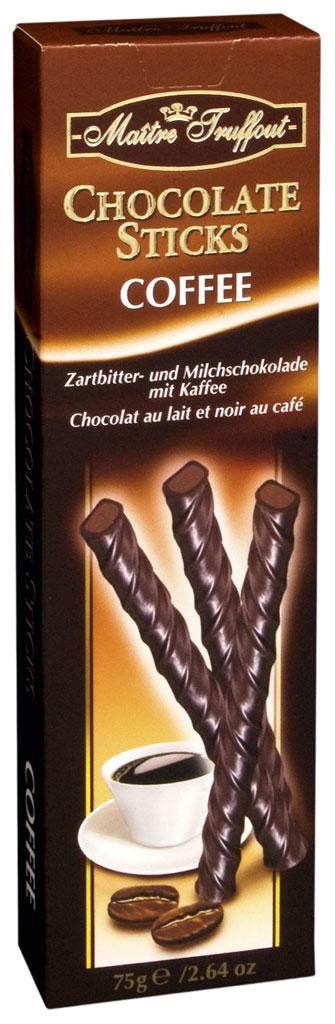 Черный шоколад с начинкой со вкусом кофе Chocolate Sticks Coffee Maitre Truffout , 75 г