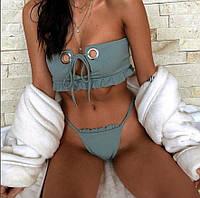 Купальник женский раздельный  рубчик с кольцом на лифе, фото 1