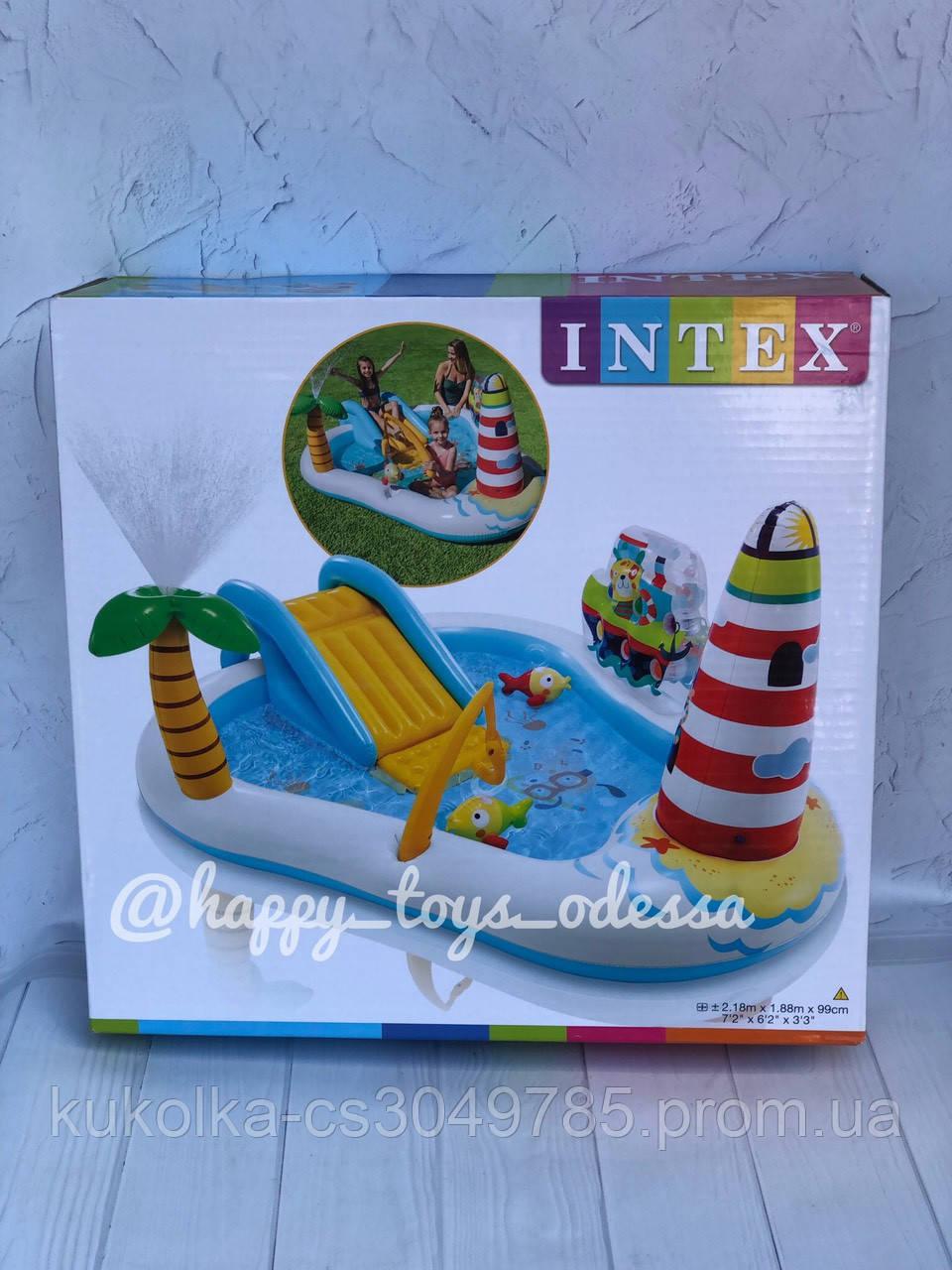 Бассейн надувной игровой центр Intex «Веселая Рыбалка» с надувной удочкой и две рыбы артикул 57162
