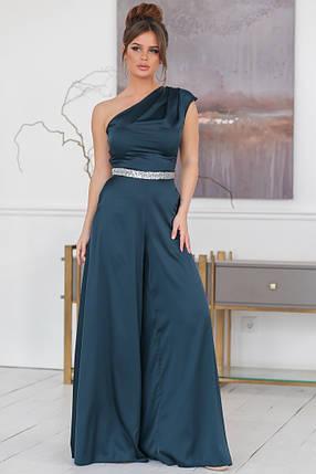 """Нарядный женский комбинезон """"ЖАСМИН"""" с расклешенными брюками (5 цветов), фото 2"""