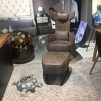 Кресло-качалка + пуф Kangou в натуральной коже