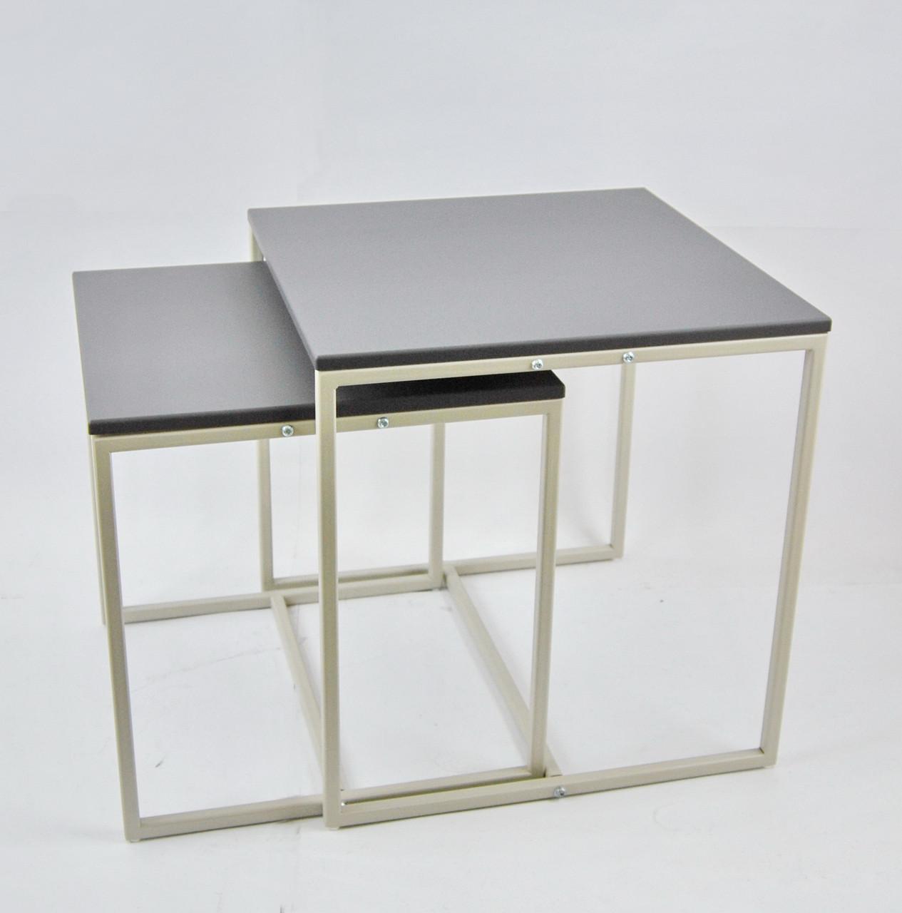 Комплект столов журнальных Куб 400 и Куб 450 - Элегантный серый (Loft Cub gray-gray)