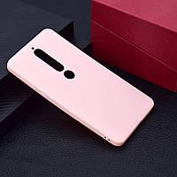 Чехол для Nokia 6.1 / Nokia 6 New 2018 силикон Soft Touch бампер светло-розовый
