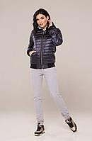 Фанни куртка плащевка (бомберка) синий лаке тонкая