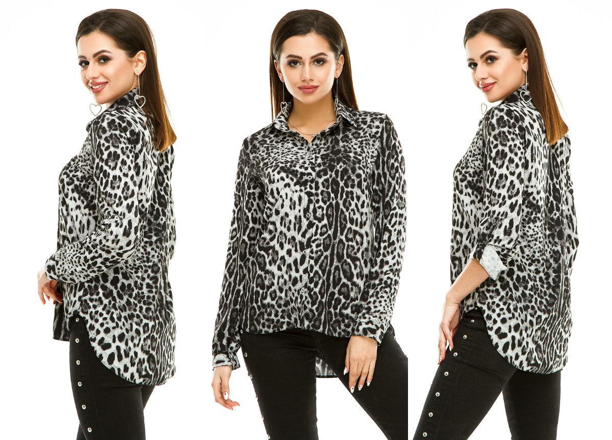 204f01b21eb Женская рубашка с леопардовым принтом - Магазин женской одежды и  аксессуаров в Украине - Annika.