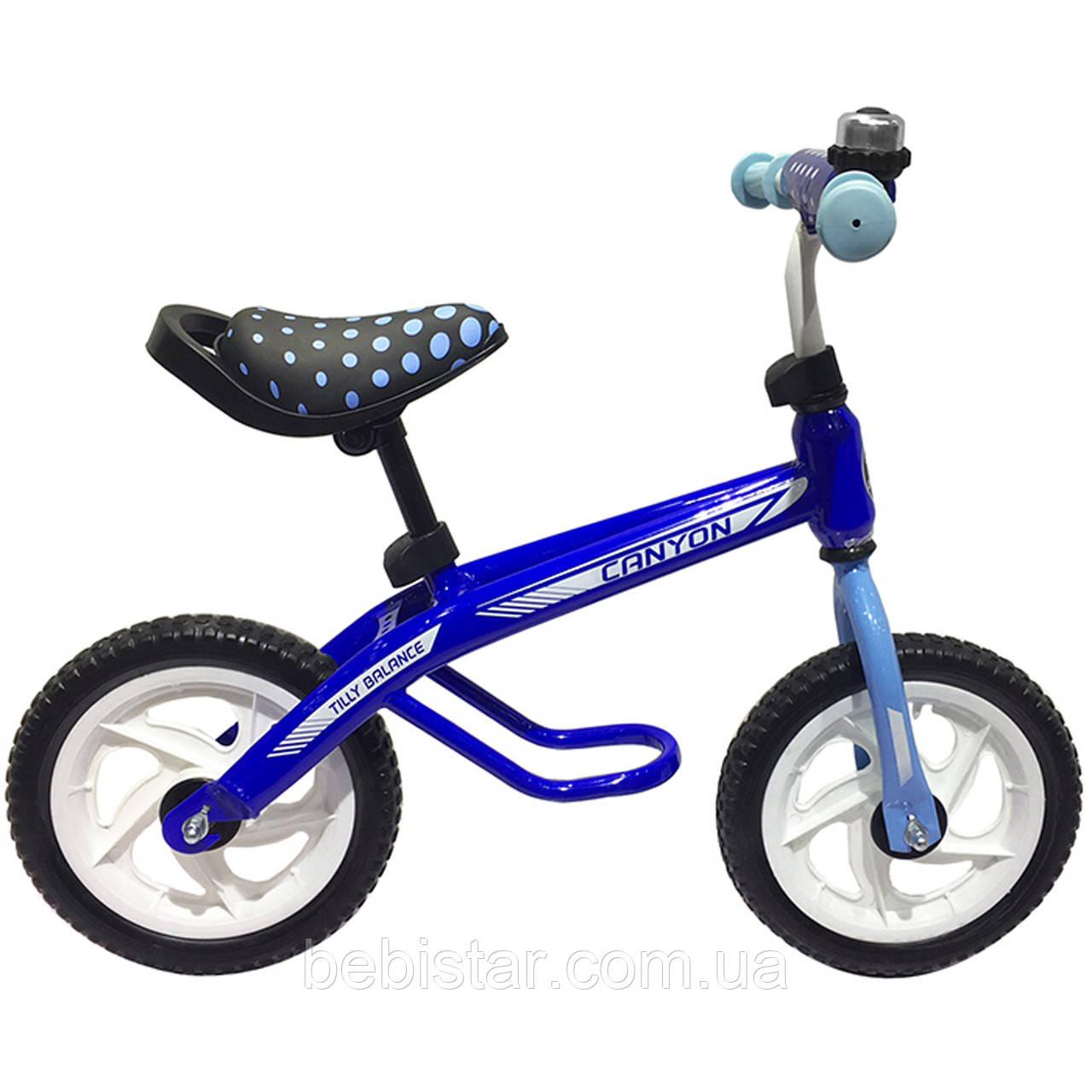 Беговел синій сталева рама пластикові диски, колеса EVA BALANCE TILLY 12 Canyon від 2-х до 5-ти років