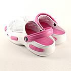 Кроксы из пены ЭВА, р 36, 37, 38, 39, 40 Белые с розовым сабо женские или для девочки., фото 6