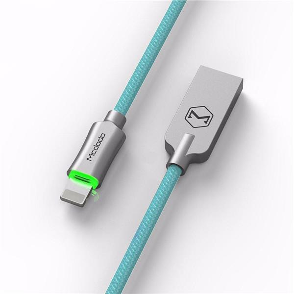 Кабель MCDODO CA-390 Smart Lightning для зарядки з автовідключенням 1,8 м LED Блакитний (SUN3727)