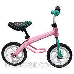 Беговел розовый стальная рама пластиковые диски, колеса EVA BALANCE TILLY 12 Canyon от 2-х до 5-ти лет
