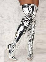 Серебристые лаковые сапожки на шпильке 10 см, 38 размер