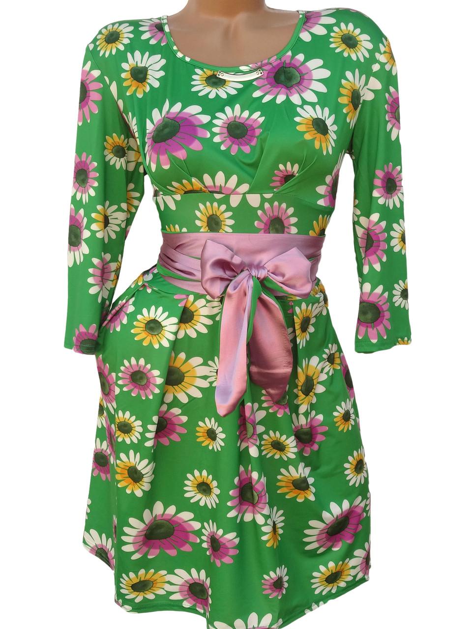 Обворожительные женские платья с пояском (в расцветках 44,46)