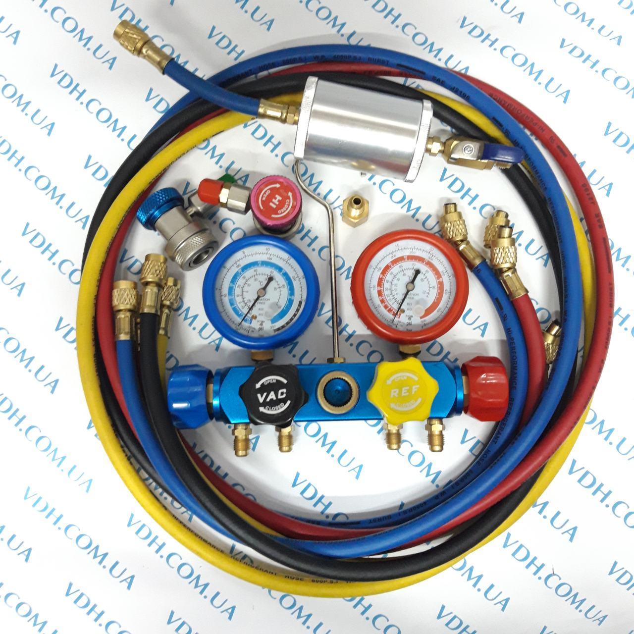Манометрический коллектор 4х вентильный в наборе ( 4шланга, 2 автомуфты,краны 339 и 338, масл. инжектор) - фото 3