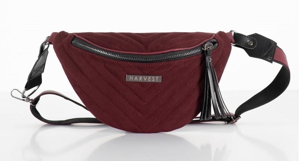 Поясна сумка жіноча HARVEST MOLLY на пояс барсетка бордова 14x31x5 см. замшева шкіра