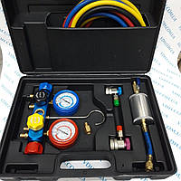 Манометрический  коллектор 4х вентильный в наборе ( 4шланга, 2 автомуфты,краны 339 и 338, масл. инжектор)