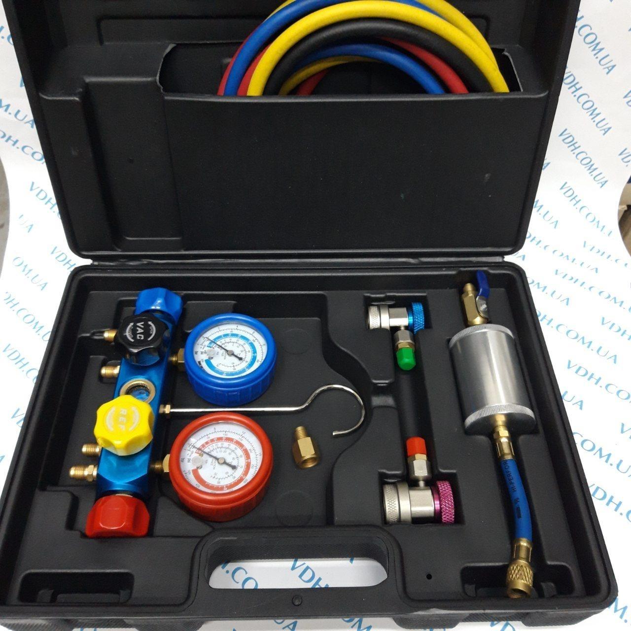 Манометрический коллектор 4х вентильный в наборе ( 4шланга, 2 автомуфты,краны 339 и 338, масл. инжектор) - фото 1