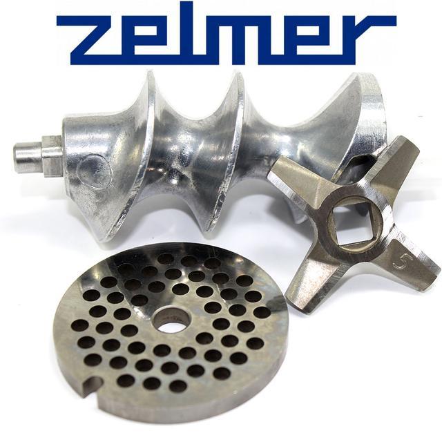 Шнек для мясорубки Zelmer NR5 для двухстороннего ножа в комплекте с ножом и решеткой