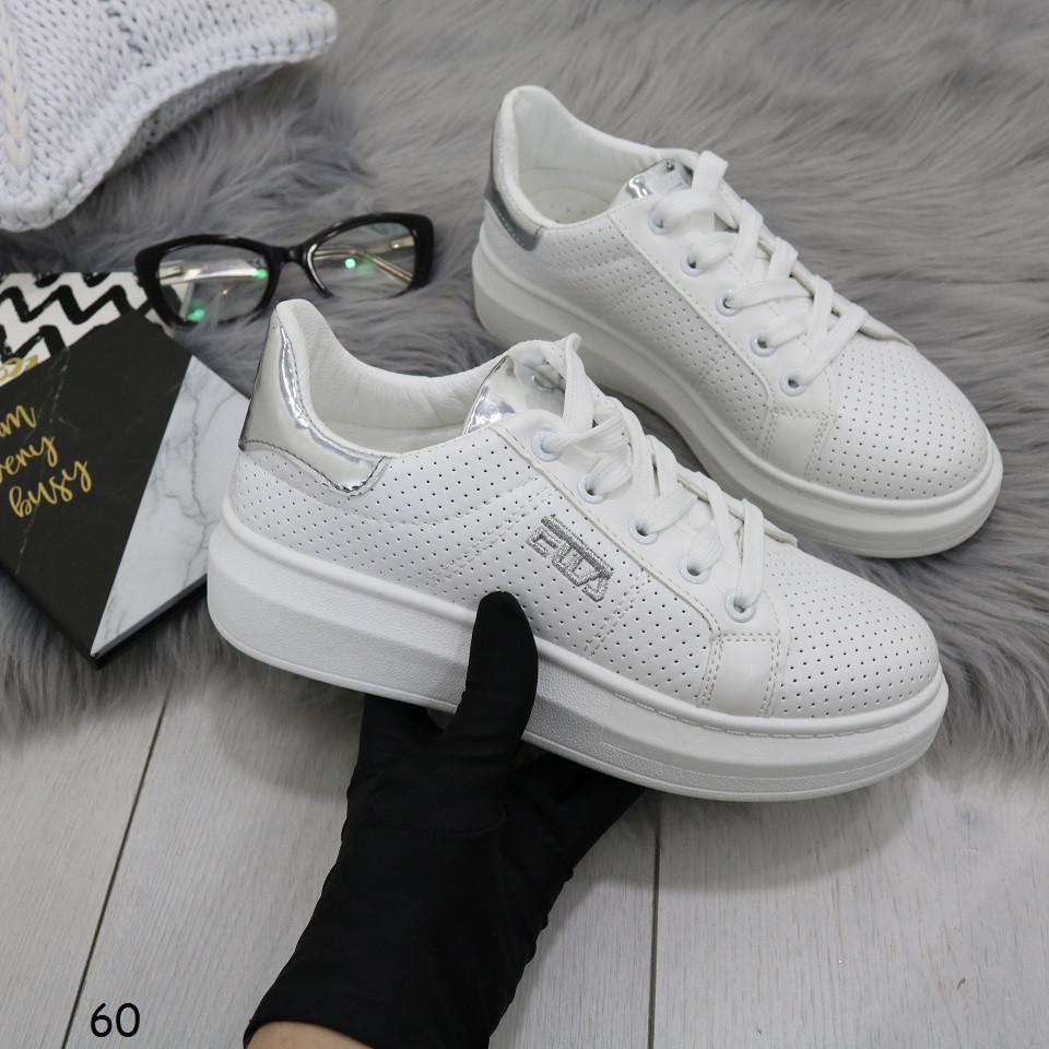 6fe5264f Стильные белые женские кроссовки, эко кожа с перфорацией + эко лак 38 39  ПОСЛЕДНИЕ РАЗМЕРЫ