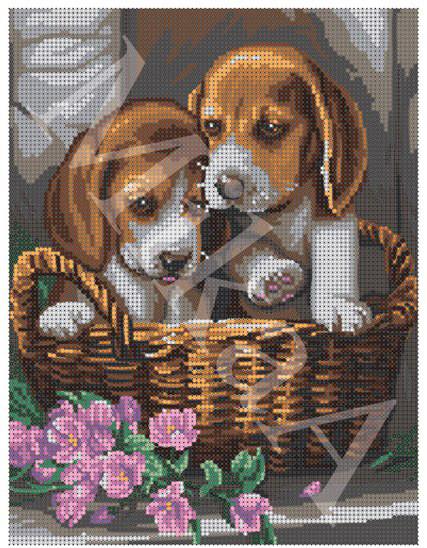 """Схема для полной зашивки бисером - """"Два щенка"""""""
