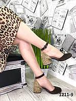 Женские замшевые туфли леопард на устойчивом каблуке