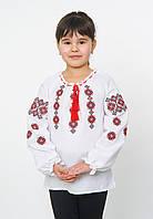Біла вишиванка для дівчинки з українським орнаментом, арт. 4329