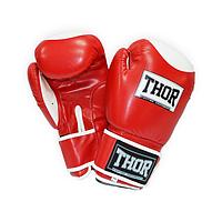 Перчатки боксерские кожаные THOR COMPETITION (Leather) Red прочные, красного цвета