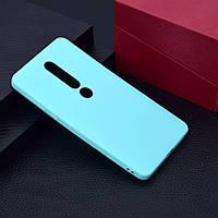Чехол для Nokia 6.1 Plus / Nokia X6 / TA-1116 силикон Soft Touch бампер мятно-голубой