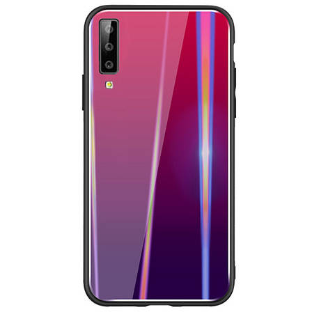 Чохол-накладка Gradient Aurora для Samsung Galaxy A7 (2018) Glass Малиновий, фото 2