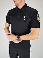 Футболка Поло влагоотводящая Coolmax черная для полиции
